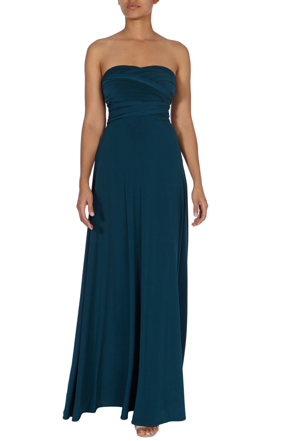 Corwin Multi Tie Dress - neckline: strapless (straight/sweetheart); pattern: plain; style: maxi dress; sleeve style: strapless; length: ankle length; bust detail: subtle bust detail; predominant colour: teal; occasions: evening; fit: fitted at waist & bust; fibres: polyester/polyamide - 100%; hip detail: subtle/flattering hip detail; sleeve length: sleeveless; pattern type: fabric; texture group: jersey - stretchy/drapey; season: a/w 2015; wardrobe: event