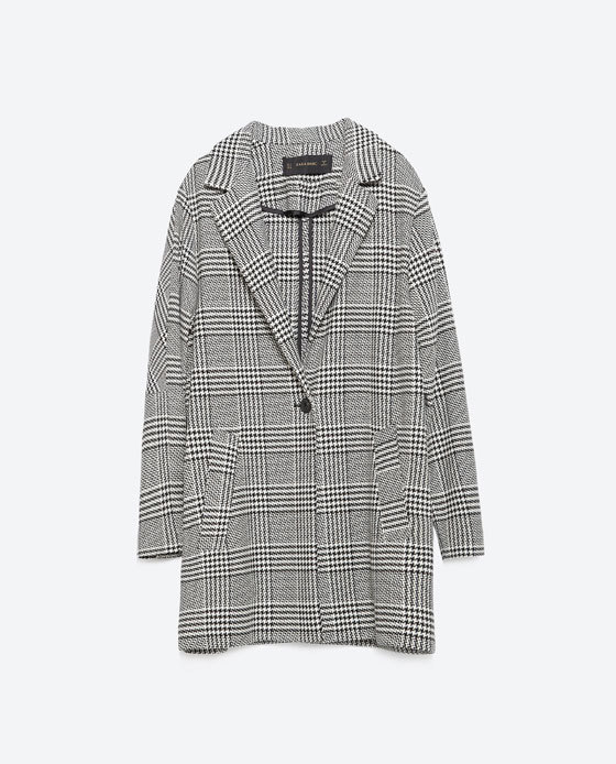 Long Blazer - pattern: checked/gingham; fit: loose; style: boxy; collar: standard lapel/rever collar; predominant colour: light grey; secondary colour: black; occasions: casual, work, creative work; length: mid thigh; sleeve length: long sleeve; sleeve style: standard; collar break: low/open; pattern type: fabric; pattern size: standard; texture group: woven light midweight; season: a/w 2015