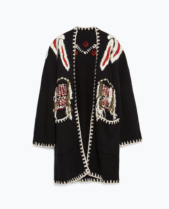 Embroidered Jacket - collar: round collar/collarless; secondary colour: white; predominant colour: black; occasions: casual, creative work; fit: straight cut (boxy); length: mid thigh; sleeve length: 3/4 length; sleeve style: standard; collar break: low/open; pattern type: fabric; pattern: patterned/print; texture group: woven light midweight; embellishment: embroidered; style: fluid/kimono; season: a/w 2015; wardrobe: highlight