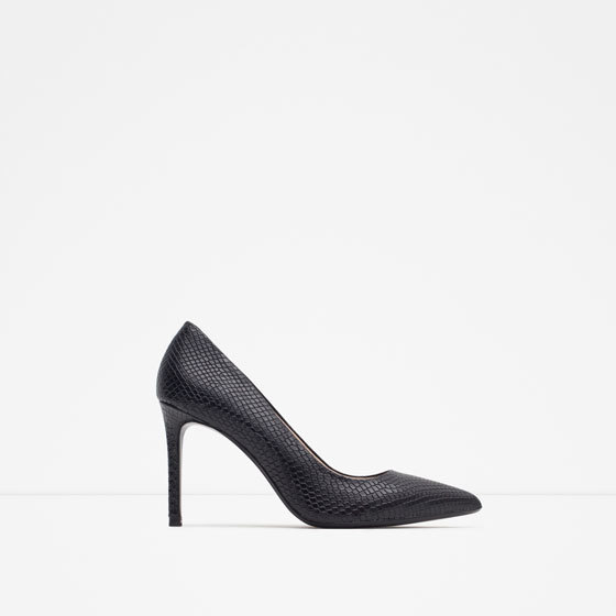 Leather Court Shoe - predominant colour: black; occasions: evening, work, occasion, creative work; material: leather; heel height: high; heel: stiletto; toe: pointed toe; style: courts; finish: plain; pattern: plain; season: a/w 2015; wardrobe: investment
