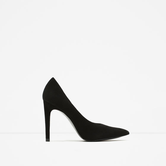 Suede Court Shoe - predominant colour: black; occasions: evening, work, occasion; material: suede; heel: stiletto; toe: pointed toe; style: courts; finish: plain; pattern: plain; heel height: very high; season: a/w 2015; wardrobe: highlight