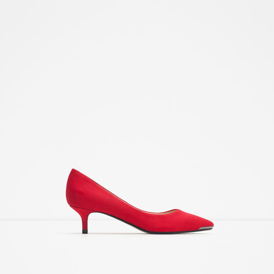 Medium Heel Shoes - predominant colour: true red; occasions: evening, occasion; heel height: mid; heel: kitten; toe: pointed toe; style: courts; finish: plain; pattern: plain; material: faux suede; season: a/w 2015
