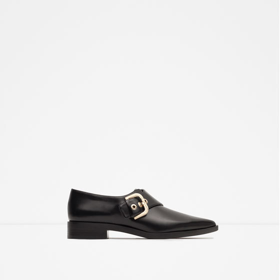 Flats With Buckle - secondary colour: gold; predominant colour: black; occasions: work, creative work; material: faux leather; heel height: flat; embellishment: buckles; toe: pointed toe; style: loafers; finish: plain; pattern: plain; season: a/w 2015; wardrobe: basic