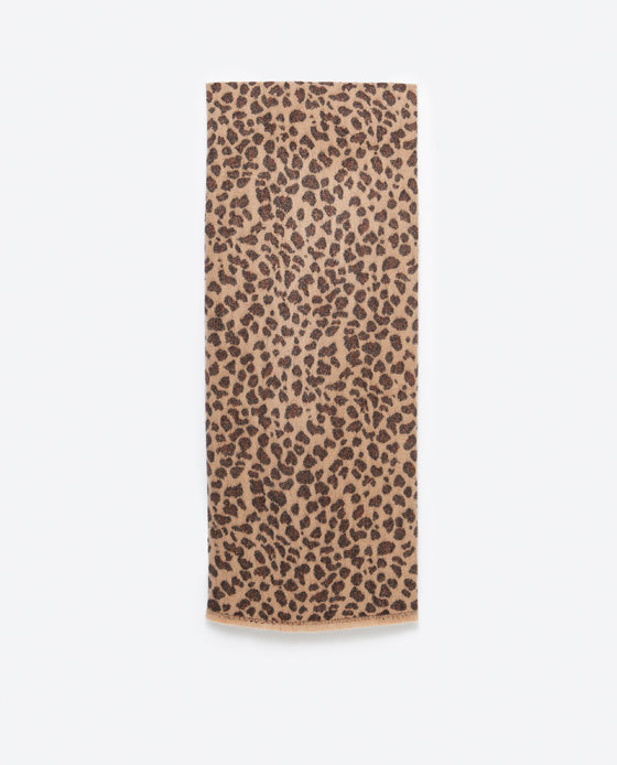 Animal Print Scarf - secondary colour: chocolate brown; predominant colour: camel; occasions: casual, creative work; type of pattern: standard; style: regular; size: standard; material: knits; pattern: animal print; season: a/w 2015; wardrobe: highlight