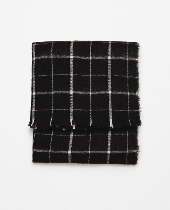 Soft Check Scarf - secondary colour: white; predominant colour: black; occasions: casual; style: regular; size: standard; material: knits; pattern: checked/gingham; season: a/w 2015; wardrobe: highlight