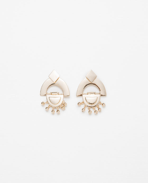 Geometric Earrings - predominant colour: gold; occasions: evening, occasion; style: drop; length: mid; size: standard; material: chain/metal; fastening: pierced; finish: metallic; season: a/w 2015; wardrobe: event