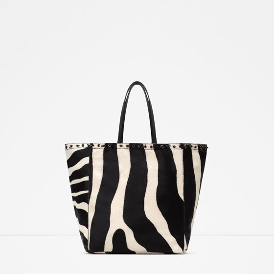 Printed Leather Tote Bag - secondary colour: ivory/cream; predominant colour: black; occasions: casual, creative work; type of pattern: light; style: shoulder; length: shoulder (tucks under arm); size: oversized; material: leather; pattern: animal print; finish: plain; season: a/w 2015; wardrobe: highlight