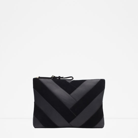 Combined Leather Clutch - predominant colour: black; occasions: evening, occasion; type of pattern: light; style: clutch; length: hand carry; size: small; material: leather; pattern: striped; finish: plain; season: a/w 2015; wardrobe: event