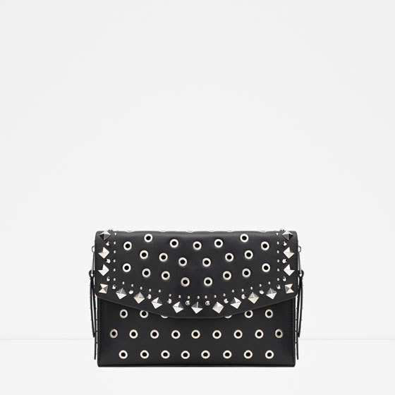 Studded Envelope Clutch - secondary colour: silver; predominant colour: black; occasions: evening, occasion; type of pattern: standard; style: clutch; length: hand carry; size: small; material: faux leather; embellishment: studs; pattern: plain; finish: plain; season: a/w 2015; wardrobe: event