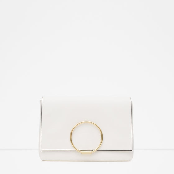 Clutch With Metal Detail - predominant colour: ivory/cream; secondary colour: gold; occasions: evening, occasion; type of pattern: standard; style: clutch; length: hand carry; size: small; material: faux leather; pattern: plain; finish: plain; embellishment: chain/metal; season: a/w 2015
