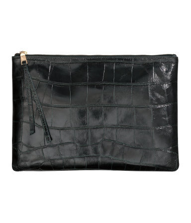 Leather Clutch Bag - predominant colour: black; occasions: evening, occasion; type of pattern: standard; style: clutch; length: hand carry; size: small; material: leather; pattern: plain; finish: plain; season: a/w 2015