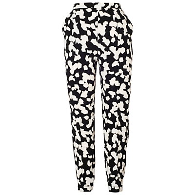 Abstract Print Trousers, Black/Ivory - length: standard; style: peg leg; waist: high rise; secondary colour: white; predominant colour: black; occasions: casual, creative work; fibres: polyester/polyamide - stretch; waist detail: narrow waistband; fit: tapered; pattern type: fabric; pattern: patterned/print; texture group: other - light to midweight; pattern size: standard (bottom); season: a/w 2015; wardrobe: highlight