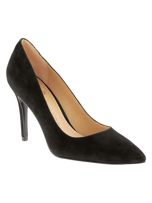 Delphine Pump Black - predominant colour: black; occasions: evening, work, creative work; material: suede; heel height: high; heel: stiletto; toe: pointed toe; style: courts; finish: plain; pattern: plain; season: a/w 2015; wardrobe: investment