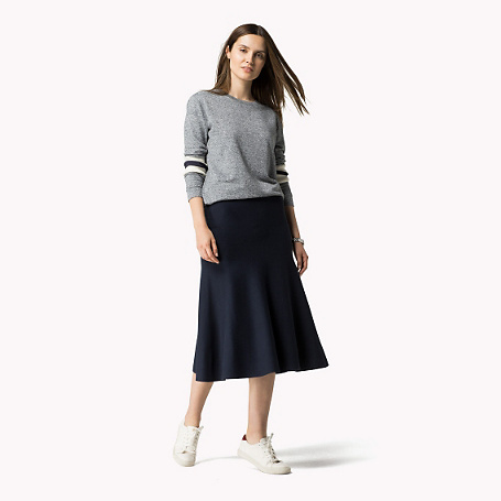 Dari Skirt - length: calf length; pattern: plain; fit: loose/voluminous; waist: mid/regular rise; predominant colour: navy; occasions: casual; style: a-line; fibres: viscose/rayon - 100%; pattern type: fabric; texture group: other - light to midweight; season: a/w 2015; wardrobe: basic