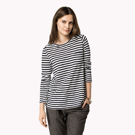 June Long Sleeve T Shirt - neckline: round neck; pattern: horizontal stripes; style: t-shirt; secondary colour: white; predominant colour: black; occasions: casual, creative work; length: standard; fibres: cotton - stretch; fit: body skimming; sleeve length: 3/4 length; sleeve style: standard; pattern type: fabric; texture group: jersey - stretchy/drapey; pattern size: big & busy (top); season: a/w 2015
