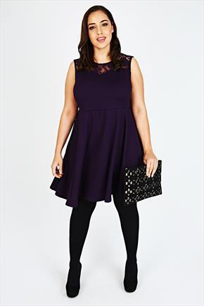 Purple Sleeveless Skater Dress With Lace Yoke - pattern: plain; sleeve style: sleeveless; bust detail: sheer at bust; predominant colour: aubergine; occasions: evening; length: just above the knee; fit: fitted at waist & bust; style: fit & flare; fibres: polyester/polyamide - stretch; neckline: crew; sleeve length: sleeveless; texture group: crepes; pattern type: fabric; embellishment: lace; season: a/w 2015