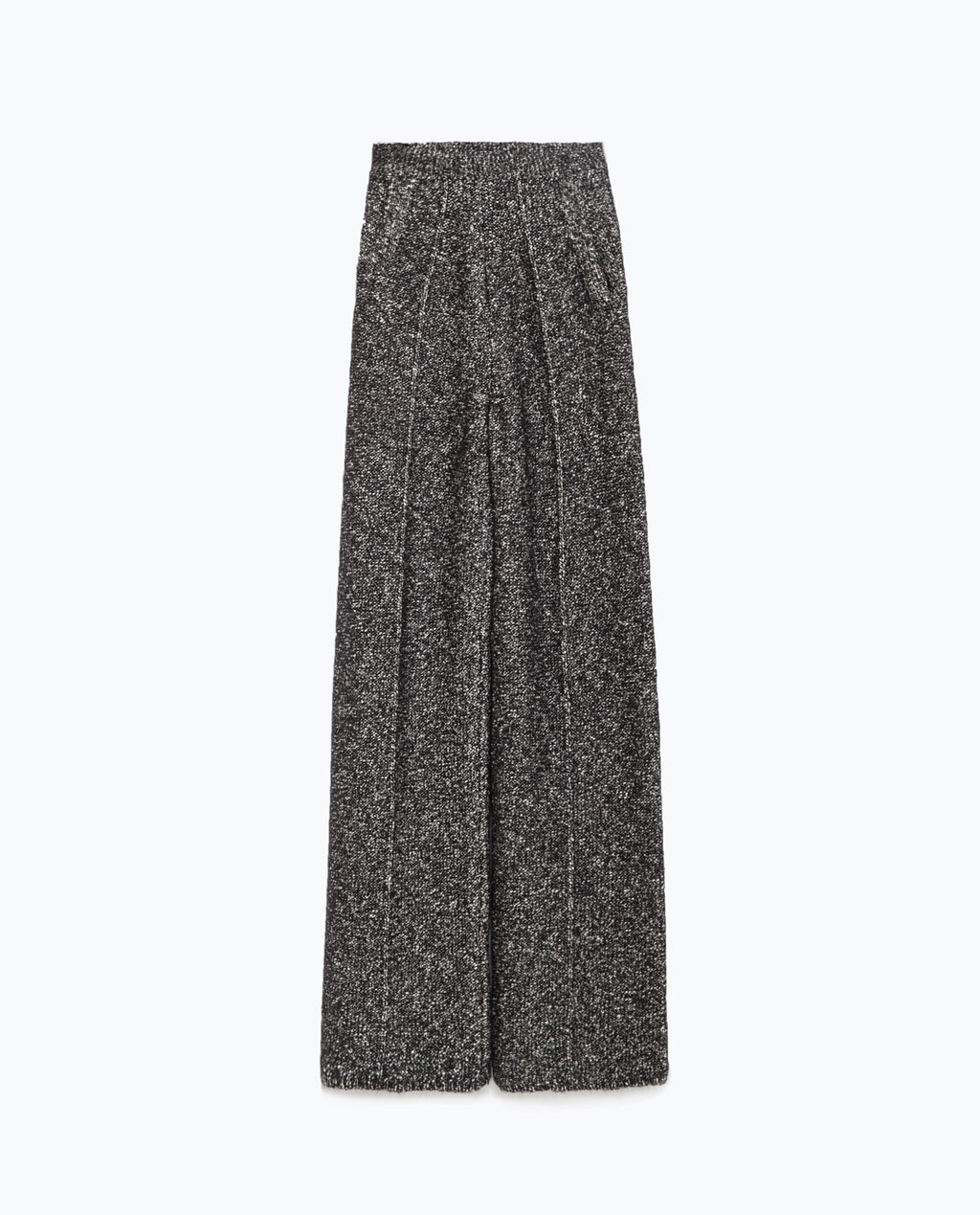 Wide Trousers - length: standard; waist: high rise; pocket detail: pockets at the sides; secondary colour: white; predominant colour: black; occasions: evening, creative work; fibres: cotton - mix; hip detail: front pleats at hip level; texture group: cotton feel fabrics; fit: wide leg; pattern type: knitted - other; pattern: patterned/print; style: standard; pattern size: standard (bottom); season: a/w 2015; wardrobe: highlight