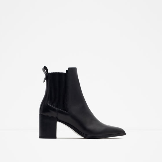 High Heel Leather Ankle Boots With Stretch Detail - predominant colour: black; occasions: casual, creative work; material: faux leather; heel height: high; heel: block; toe: pointed toe; boot length: ankle boot; style: standard; finish: plain; pattern: plain; season: a/w 2015; wardrobe: highlight