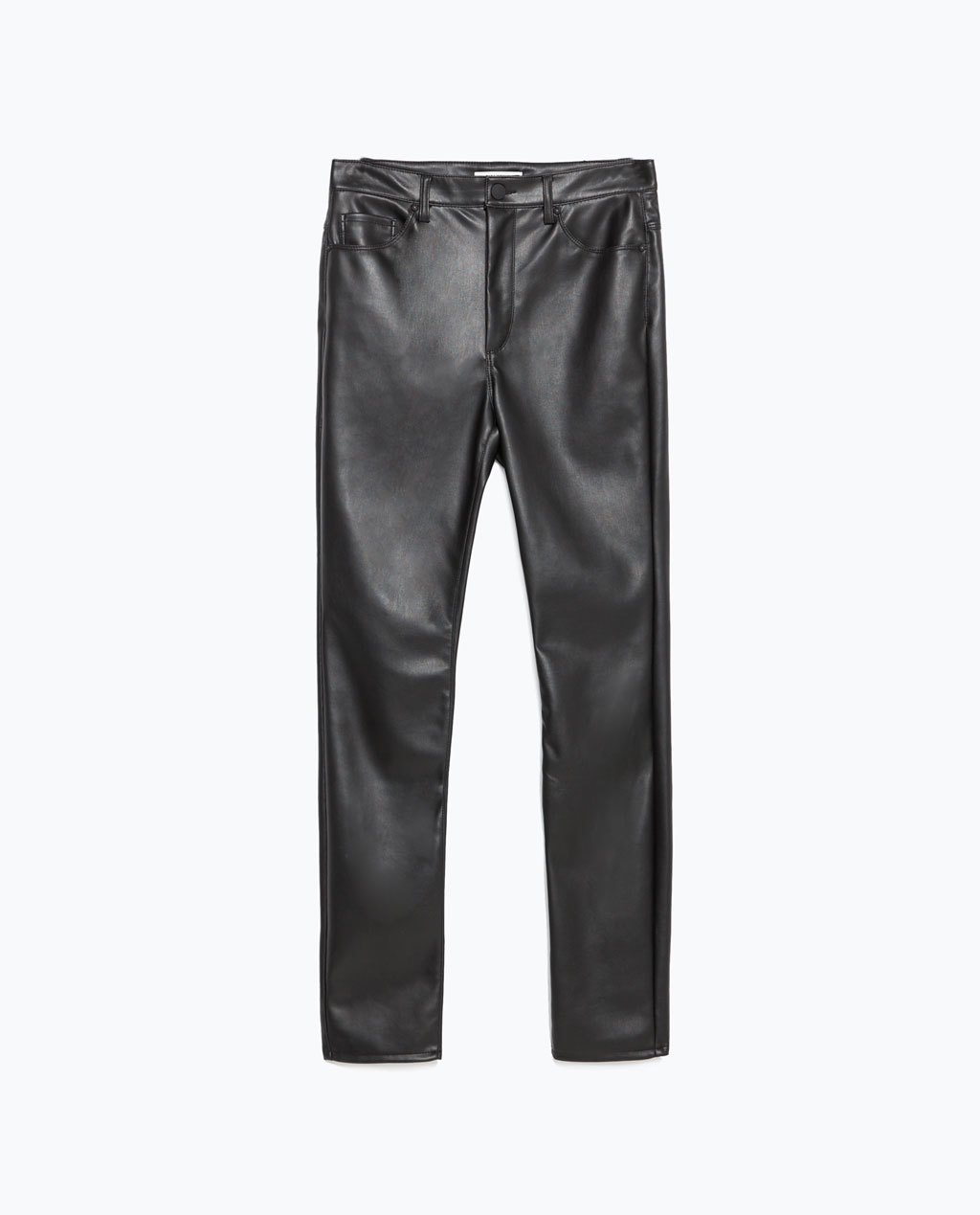 Skinny Trousers - length: standard; pattern: plain; waist: high rise; pocket detail: traditional 5 pocket; predominant colour: black; occasions: casual, evening, creative work; fibres: polyester/polyamide - 100%; texture group: leather; fit: skinny/tight leg; pattern type: fabric; style: standard; season: a/w 2015; wardrobe: highlight