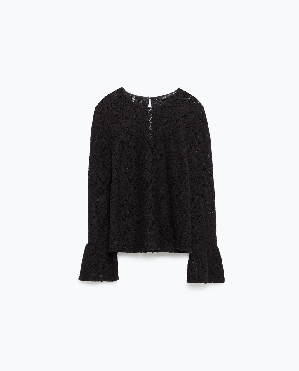 Lace Top - neckline: round neck; sleeve style: trumpet; predominant colour: black; occasions: evening, creative work; length: standard; style: top; fibres: cotton - mix; fit: body skimming; sleeve length: long sleeve; texture group: lace; pattern type: fabric; pattern size: standard; pattern: patterned/print; season: a/w 2015; trends: romantic goth; wardrobe: highlight