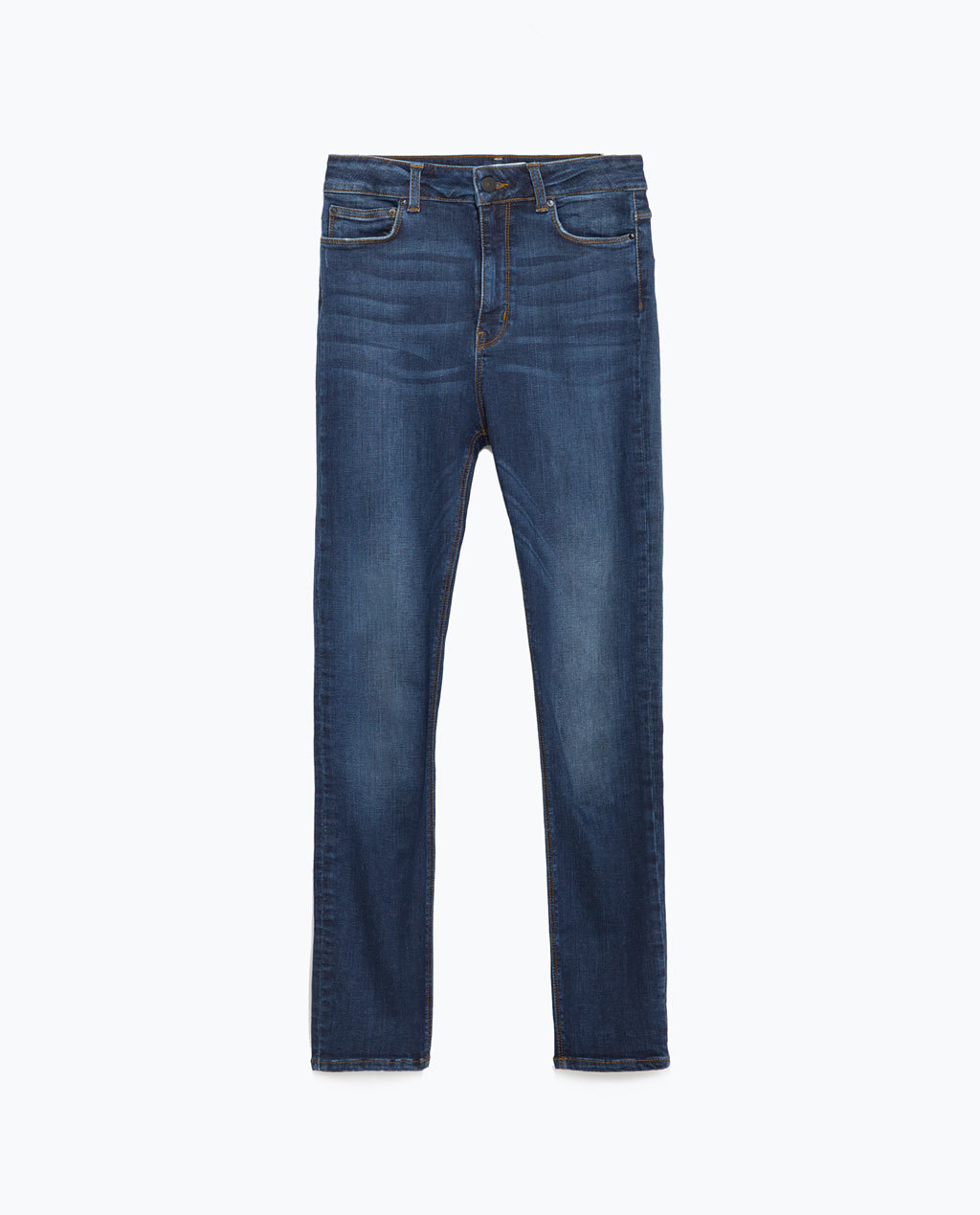 Jeans - length: standard; pattern: plain; pocket detail: traditional 5 pocket; style: slim leg; waist: mid/regular rise; predominant colour: navy; occasions: casual, creative work; fibres: cotton - stretch; jeans detail: shading down centre of thigh, dark wash, washed/faded; texture group: denim; pattern type: fabric; season: a/w 2015; wardrobe: basic