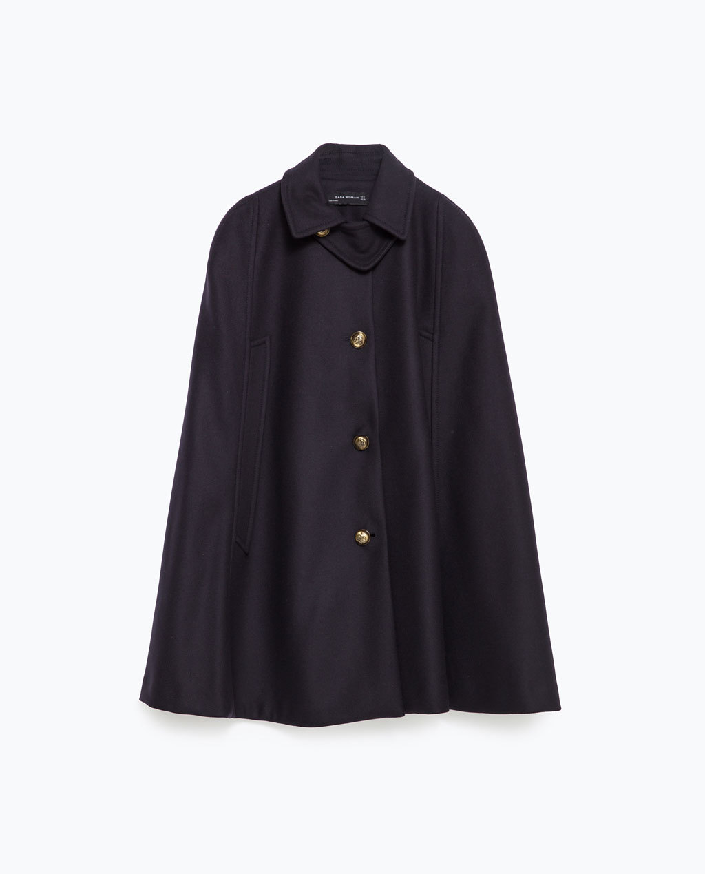 Navy Cape - pattern: plain; length: below the bottom; fit: loose; style: cape; predominant colour: navy; occasions: casual, creative work; fibres: wool - mix; collar: shirt collar/peter pan/zip with opening; sleeve length: long sleeve; collar break: high; pattern type: fabric; texture group: woven bulky/heavy; sleeve style: cape/poncho sleeve; season: a/w 2015; wardrobe: highlight