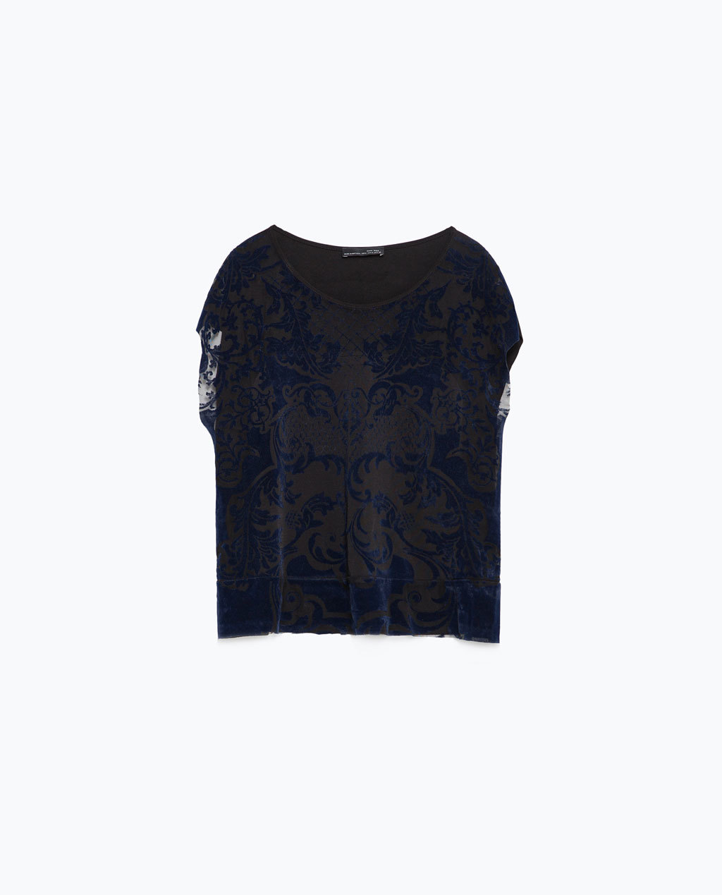 Baroque T Shirt - neckline: round neck; style: t-shirt; pattern: paisley; secondary colour: navy; predominant colour: black; occasions: evening; length: standard; fibres: polyester/polyamide - stretch; fit: loose; sleeve length: short sleeve; sleeve style: standard; texture group: sheer fabrics/chiffon/organza etc.; pattern type: fabric; pattern size: light/subtle; multicoloured: multicoloured; season: a/w 2015