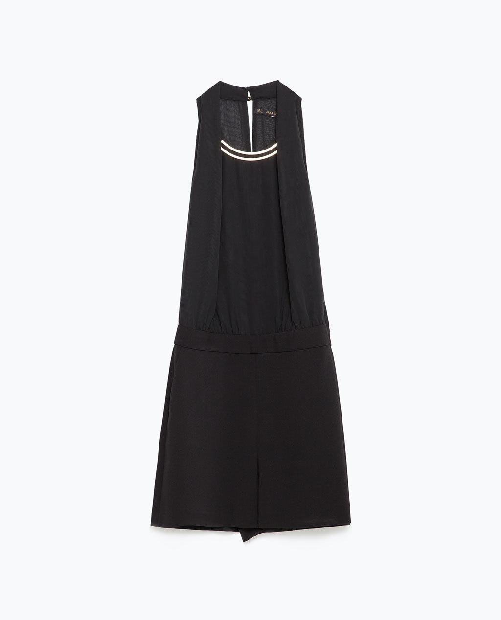 Crepe Jumpsuit - neckline: round neck; pattern: plain; sleeve style: sleeveless; length: short shorts; predominant colour: black; occasions: evening; fit: body skimming; sleeve length: sleeveless; texture group: crepes; style: playsuit; pattern type: fabric; season: a/w 2015