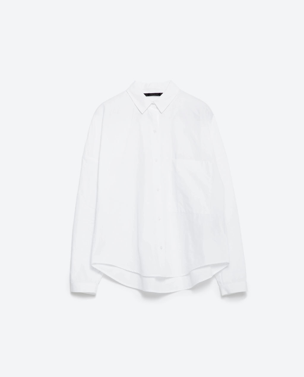 Poplin Shirt - neckline: shirt collar/peter pan/zip with opening; pattern: plain; length: below the bottom; style: shirt; predominant colour: white; occasions: casual, work, creative work; fibres: cotton - 100%; fit: straight cut; sleeve length: long sleeve; sleeve style: standard; texture group: cotton feel fabrics; pattern type: fabric; season: a/w 2015; wardrobe: basic