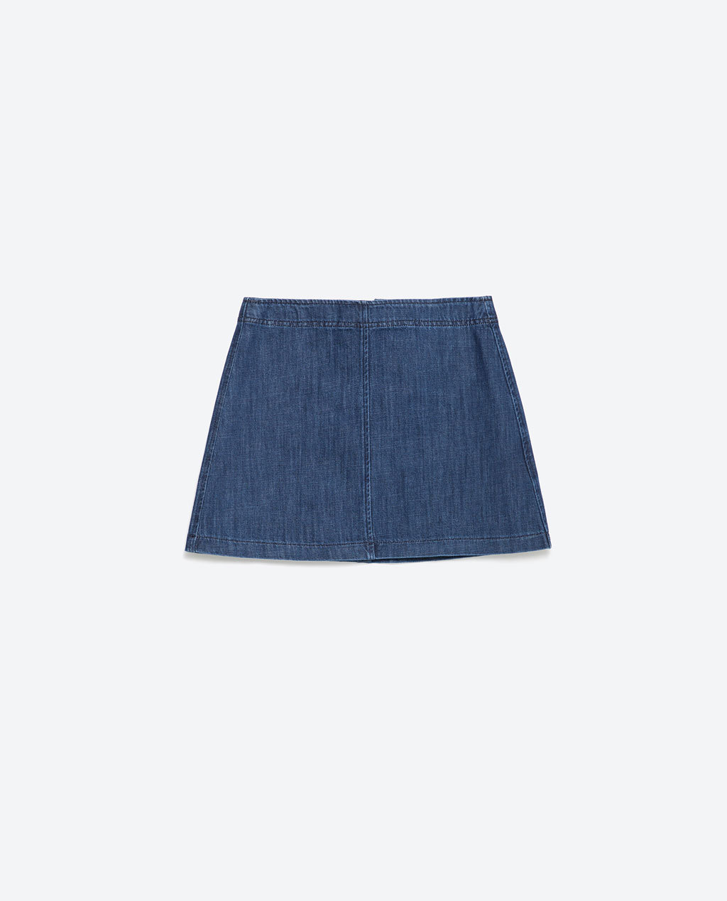 Denim Miniskirt - length: mini; pattern: plain; fit: loose/voluminous; waist: mid/regular rise; predominant colour: denim; occasions: casual; style: mini skirt; fibres: cotton - 100%; texture group: denim; pattern type: fabric; season: a/w 2015; wardrobe: basic