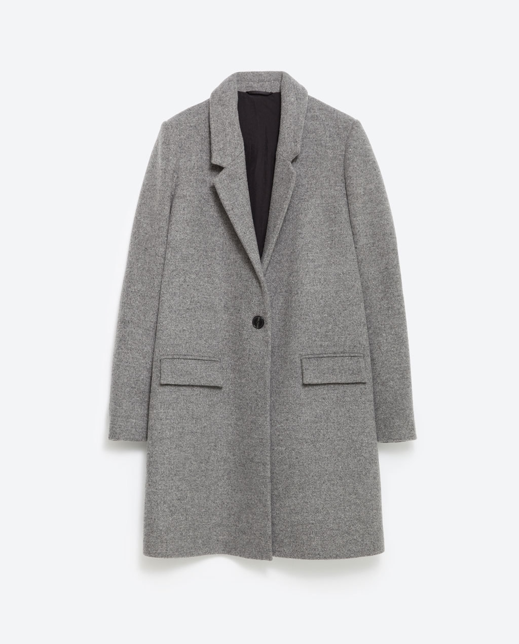 Masculine Coat - pattern: plain; style: single breasted; collar: standard lapel/rever collar; length: mid thigh; predominant colour: charcoal; occasions: work, creative work; fit: straight cut (boxy); sleeve length: long sleeve; sleeve style: standard; collar break: medium; texture group: woven bulky/heavy; season: a/w 2015; wardrobe: investment
