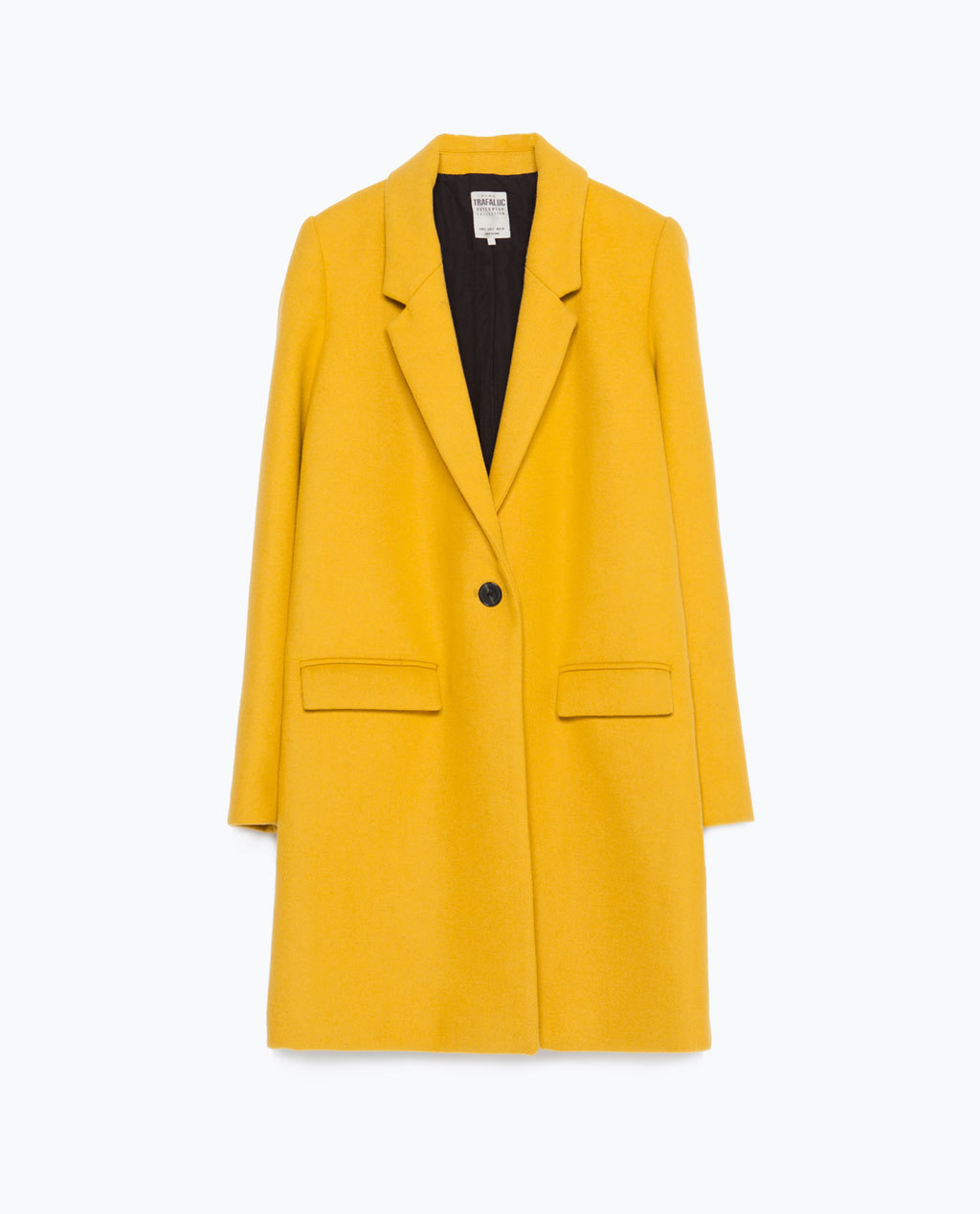 Masculine Coat - pattern: plain; style: single breasted; collar: standard lapel/rever collar; length: mid thigh; predominant colour: yellow; fit: straight cut (boxy); sleeve length: long sleeve; sleeve style: standard; collar break: low/open; pattern type: fabric; texture group: woven bulky/heavy; occasions: creative work; season: a/w 2015; wardrobe: highlight