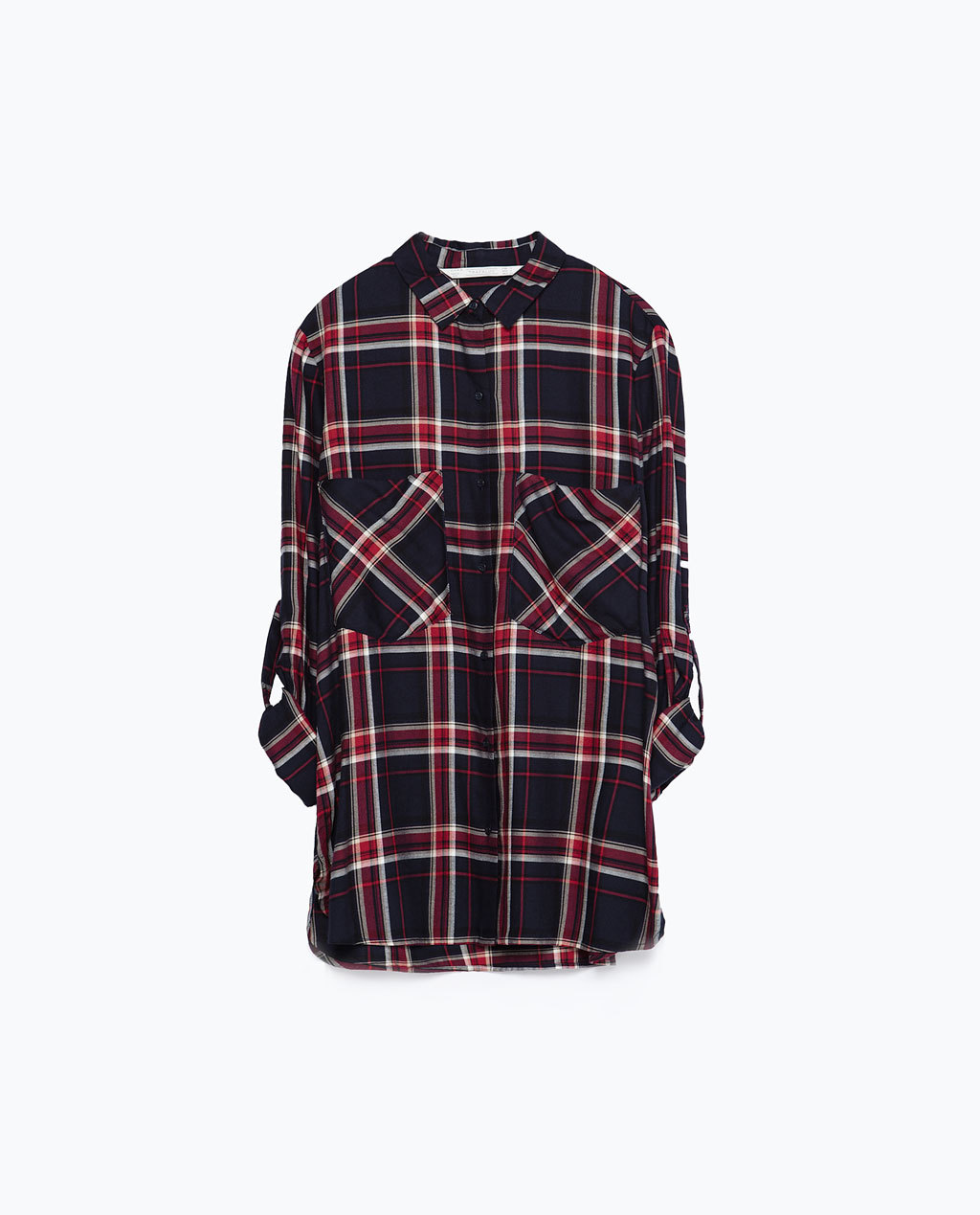 Check Shirt - neckline: shirt collar/peter pan/zip with opening; pattern: checked/gingham; length: below the bottom; style: shirt; secondary colour: true red; predominant colour: black; occasions: casual, creative work; fibres: viscose/rayon - 100%; fit: loose; sleeve length: 3/4 length; sleeve style: standard; texture group: cotton feel fabrics; pattern type: fabric; multicoloured: multicoloured; season: a/w 2015; trends: plaid and simple; wardrobe: highlight