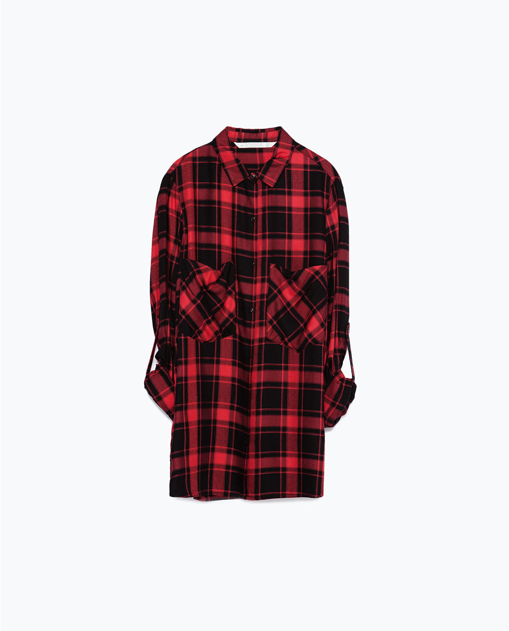 Check Shirt - neckline: shirt collar/peter pan/zip with opening; pattern: checked/gingham; style: shirt; predominant colour: true red; secondary colour: black; occasions: casual, creative work; fibres: viscose/rayon - 100%; fit: loose; length: mid thigh; sleeve length: long sleeve; sleeve style: standard; texture group: cotton feel fabrics; pattern type: fabric; multicoloured: multicoloured; season: a/w 2015; trends: plaid and simple; wardrobe: highlight