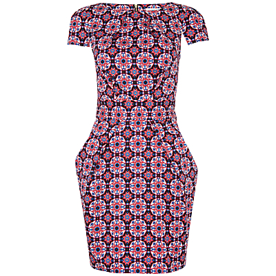 Mosaic Print Tie Back Dress, Multi - length: mid thigh; neckline: slash/boat neckline; sleeve style: capped; fit: tailored/fitted; style: tulip; predominant colour: black; occasions: casual, creative work; fibres: polyester/polyamide - 100%; sleeve length: short sleeve; pattern type: fabric; pattern size: big & busy; pattern: patterned/print; texture group: other - light to midweight; secondary colour: raspberry; multicoloured: multicoloured; season: a/w 2015; wardrobe: highlight