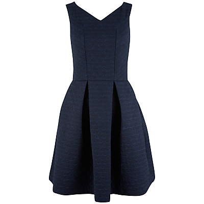 V Neck Skater Dress, Navy - length: mid thigh; neckline: v-neck; pattern: plain; sleeve style: sleeveless; predominant colour: navy; occasions: evening, occasion; fit: fitted at waist & bust; style: fit & flare; fibres: cotton - mix; hip detail: adds bulk at the hips; sleeve length: sleeveless; pattern type: fabric; texture group: woven light midweight; season: a/w 2015; wardrobe: event