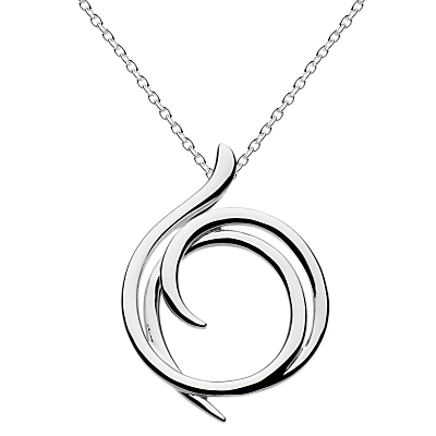 Sterling Silver Cubic Zirconia Helix Wrap Necklace, Silver - predominant colour: silver; occasions: casual, evening, creative work; style: pendant; length: mid; size: standard; material: chain/metal; finish: metallic; season: a/w 2015