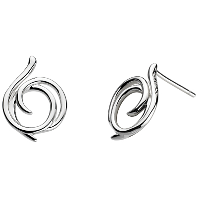 Sterling Silver Large Helix Wrap Stud Earrings, Silver - predominant colour: silver; occasions: evening, work, occasion, creative work; style: stud; length: short; size: standard; material: chain/metal; fastening: pierced; finish: metallic; season: a/w 2015; wardrobe: basic