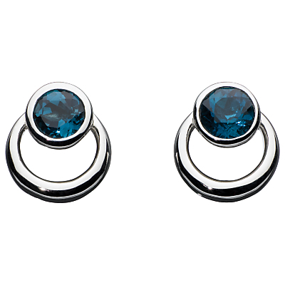 Sterling Silver Simmer Loop Blue Topaz Earrings, Silver - secondary colour: teal; predominant colour: silver; occasions: evening, occasion, creative work; style: stud; length: short; size: small/fine; material: chain/metal; fastening: pierced; finish: metallic; embellishment: jewels/stone; season: a/w 2015; wardrobe: basic