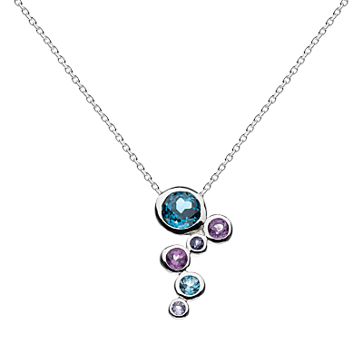 Sterling Silver Cascade Topaz Amethyst Pendant Necklace, Silver - secondary colour: turquoise; predominant colour: silver; occasions: evening, occasion, creative work; style: pendant; length: mid; size: small/fine; material: chain/metal; finish: metallic; embellishment: jewels/stone; season: a/w 2015; wardrobe: basic