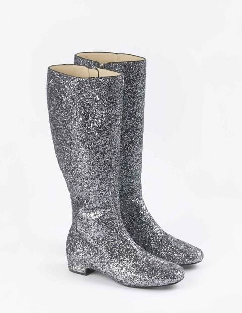 Edie Boots, Pewter Glitter - predominant colour: silver; occasions: casual, creative work; material: faux leather; heel height: mid; embellishment: glitter; heel: block; toe: round toe; boot length: knee; style: standard; finish: metallic; pattern: plain; season: a/w 2015; wardrobe: highlight