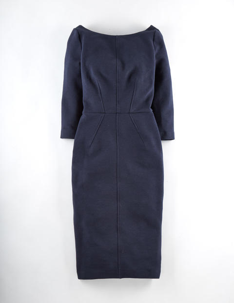 Aurelia Ottoman Work Dress Navy Women, Navy - style: shift; neckline: round neck; fit: tailored/fitted; pattern: plain; predominant colour: navy; occasions: work; length: on the knee; sleeve length: 3/4 length; sleeve style: standard; texture group: woven light midweight; season: a/w 2015; wardrobe: investment