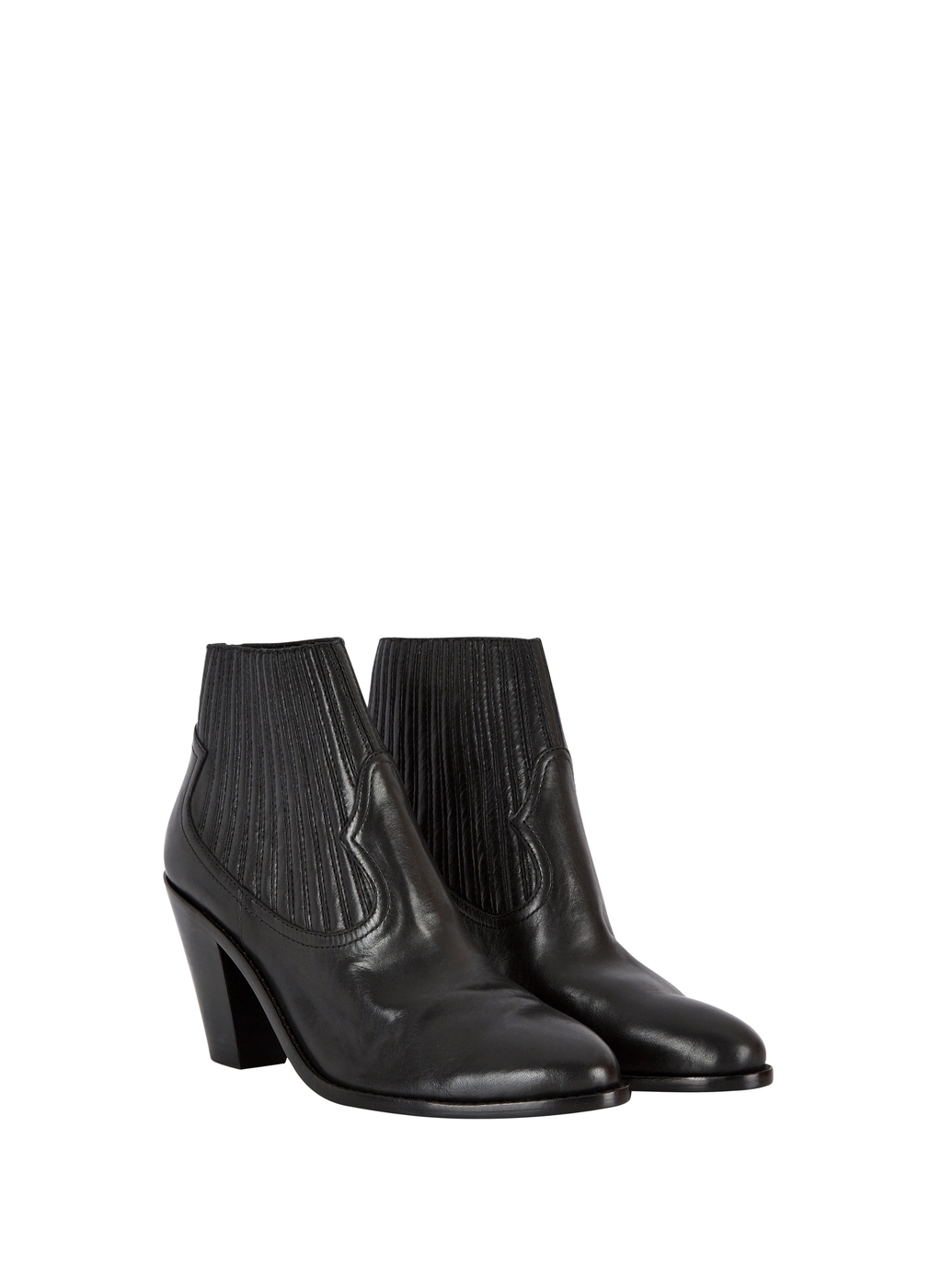 Womenswear Ash Leather Ilona Ankle Boot - predominant colour: black; occasions: casual, creative work; material: leather; heel height: mid; heel: block; toe: round toe; boot length: ankle boot; style: cowboy; finish: plain; pattern: plain; season: a/w 2015
