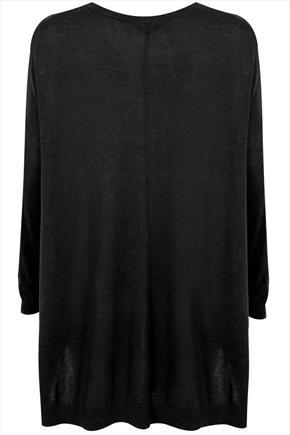Black Longline Batwing Slouch Jumper With Side Slits - pattern: plain; length: below the bottom; style: standard; predominant colour: black; occasions: casual, creative work; fit: loose; neckline: crew; sleeve length: long sleeve; sleeve style: standard; texture group: knits/crochet; season: a/w 2015; wardrobe: basic