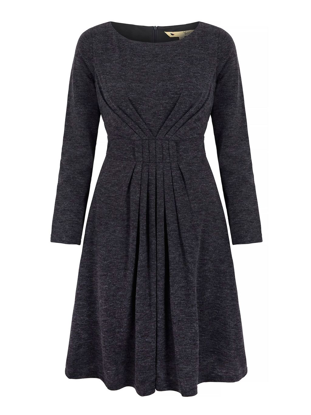 Long Sleeve Midi Dress, Grey - style: shift; neckline: round neck; fit: fitted at waist; pattern: plain; waist detail: twist front waist detail/nipped in at waist on one side/soft pleats/draping/ruching/gathering waist detail; predominant colour: charcoal; occasions: casual, creative work; length: just above the knee; fibres: polyester/polyamide - mix; sleeve length: long sleeve; sleeve style: standard; texture group: knits/crochet; pattern type: fabric; season: a/w 2015
