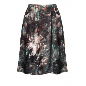 Chiara Skater Skirt - length: calf length; style: full/prom skirt; fit: loose/voluminous; waist: mid/regular rise; predominant colour: black; occasions: casual; pattern type: fabric; pattern: florals; texture group: woven light midweight; season: a/w 2015; wardrobe: highlight