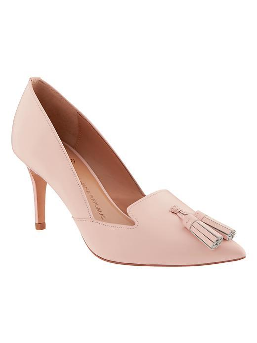 Avila Pump Pink Blush - predominant colour: pink; occasions: evening, occasion, creative work; material: leather; heel height: mid; embellishment: tassels; heel: stiletto; toe: pointed toe; style: courts; finish: plain; pattern: plain; season: a/w 2015; wardrobe: highlight