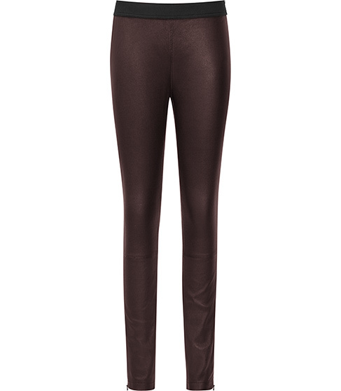 Carrie Leather Leggings - length: standard; pattern: plain; style: leggings; waist: mid/regular rise; predominant colour: black; occasions: casual, evening, creative work; fibres: leather - 100%; texture group: leather; fit: skinny/tight leg; season: a/w 2015; wardrobe: highlight
