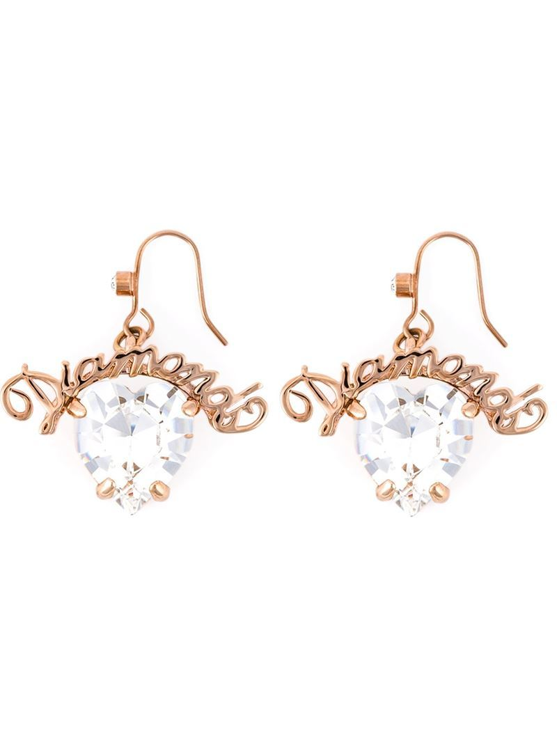'diamond Slogan' Heart Earrings, Women's, White - predominant colour: gold; occasions: evening, occasion; style: drop; length: mid; size: standard; material: chain/metal; fastening: pierced; finish: plain; embellishment: crystals/glass; secondary colour: clear; season: a/w 2015