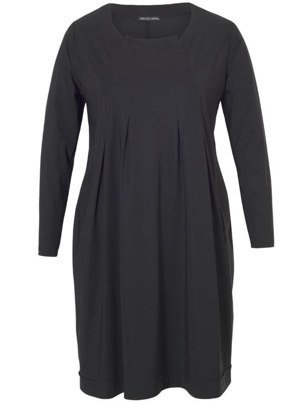 Black Jersey Tuck Tunic - neckline: round neck; pattern: plain; style: tunic; predominant colour: black; occasions: casual; fibres: polyester/polyamide - stretch; fit: loose; length: mid thigh; sleeve length: long sleeve; sleeve style: standard; pattern type: fabric; texture group: jersey - stretchy/drapey; season: a/w 2015; wardrobe: basic